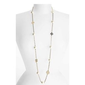 Brand new Tory Burch evie logo pearl necklace